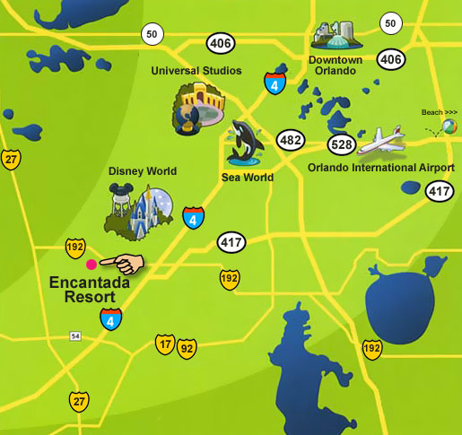 Map Of Kissimmee Florida.Encantada Resort Kissimmee Florida Location